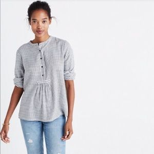 MADEWELL   Market Popover Button Grid Shirt Large